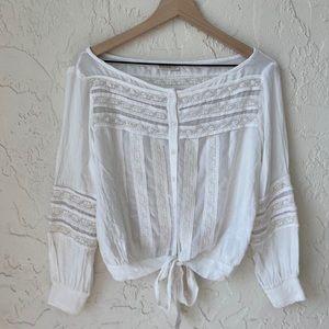 Studio F Crop Sheer Lace 100% Cotton Boho Top